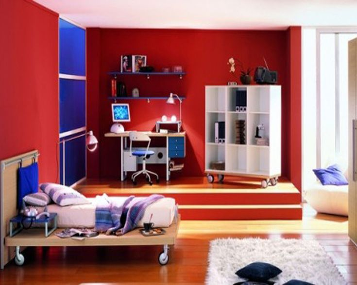 modern red and white kids boys bedroom ideas pictures with simple brown wood bed frame that - Red Kids Room Decor