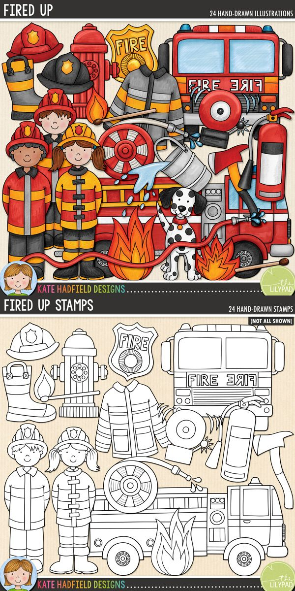 Firefighter digital scrapbooking elements | cute fire safety clip art. Hand-drawn illustrations for digital scrapbooking, crafting and teaching resources from Kate Hadfield Designs!