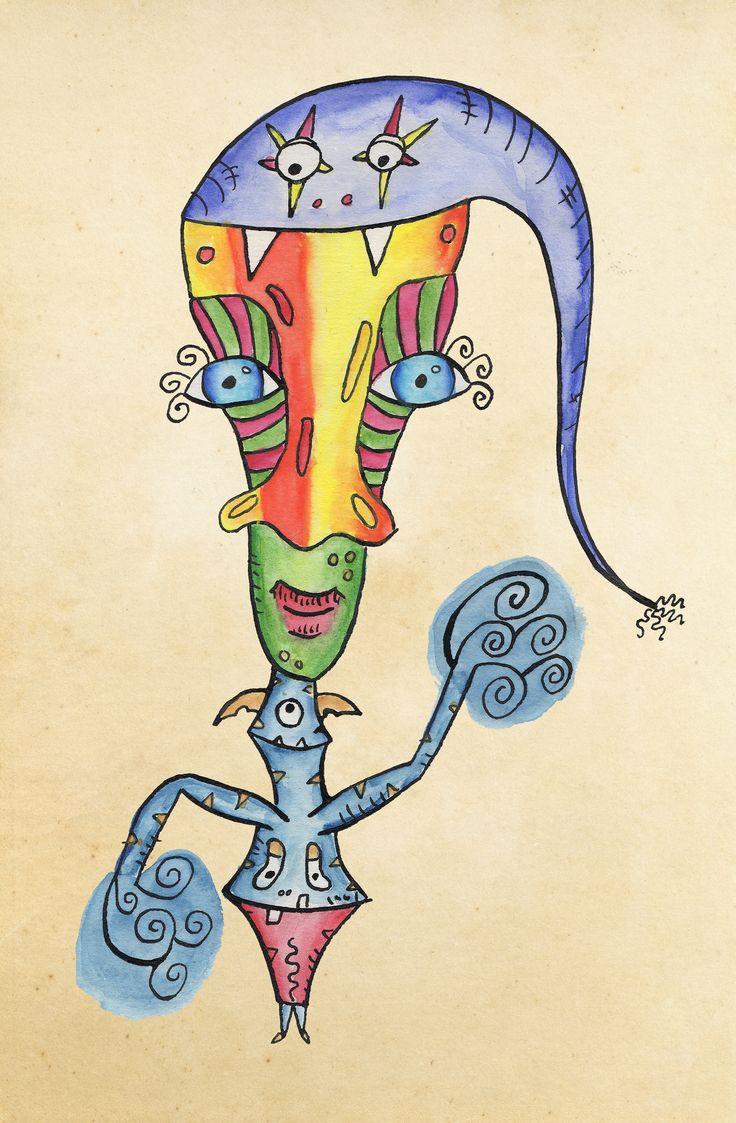 Tegnet med blæk, pen og akvarel