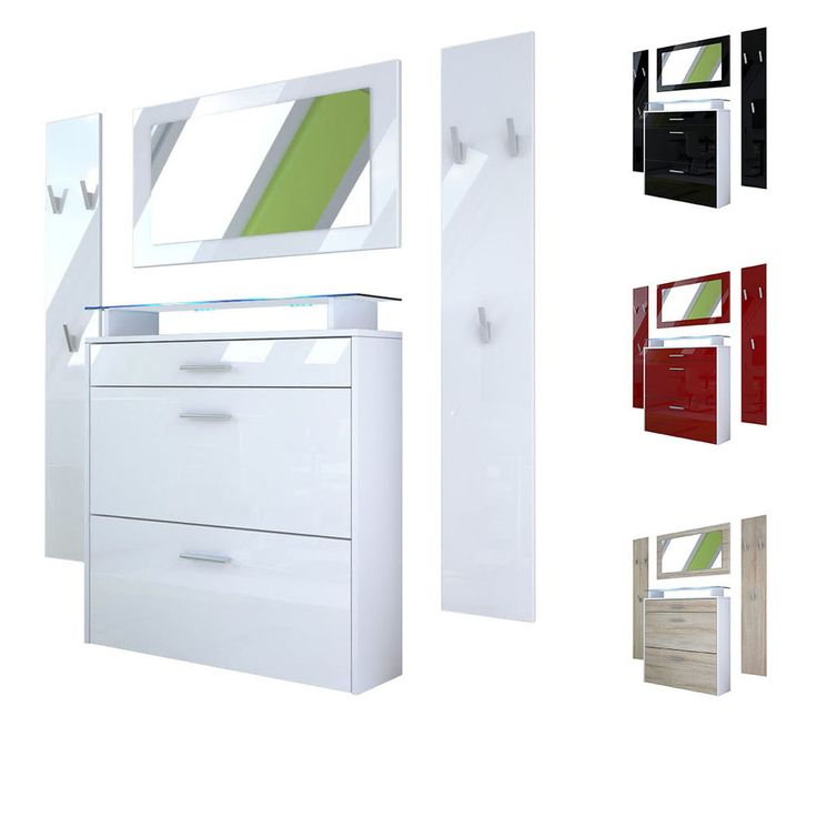 Wardrobe Set Hallway Furniture Malea in White - High Gloss & Natural Tones