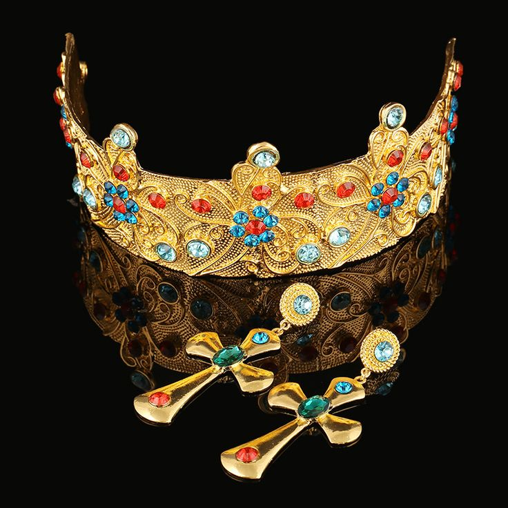 Elegant Retro Baroque Crown Imitation Pearl Rhinestone Inlay Bridal Crown