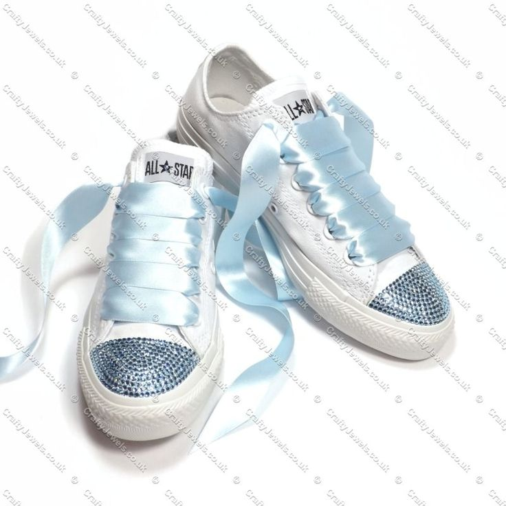 Pure White Converse With Blue Swarovski Crystals Toe s - Blue Swarovski Crystals Side s - Can be Customized with Name and Date See Example Photo