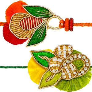 This splendid pair of rakhis are elegantly made using zardozi, diamonds and pearls neatly hand-woven with resham thread to give these rakhis a colorful look. Rs 596/- http://www.tajonline.com/rakhi-gifts/product/rdr78/zardozi-rakhi-set-of-2/?aff=pint2014/