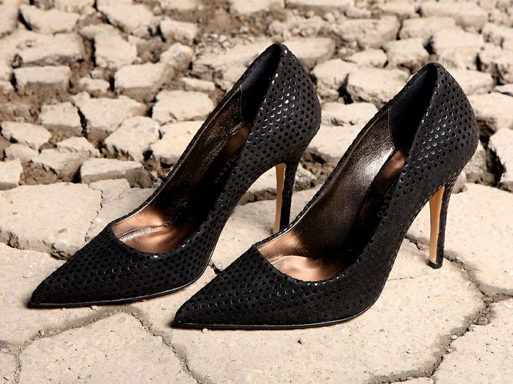Polka dot suede leather black pumps from Amarisso New York.