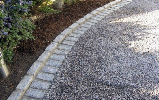 Gray gravel with cobblestone edging landscaping ideas for Grey stones for landscaping