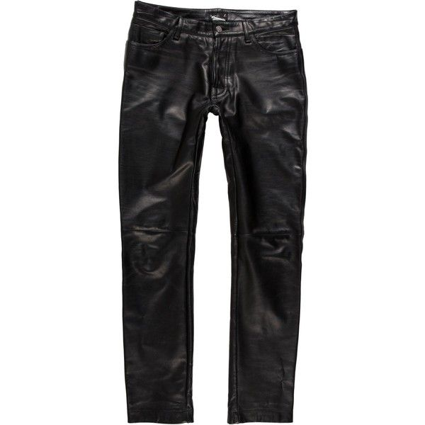 Pre-owned Agnes B. Skinny Leather Pants ($145) ❤ liked on Polyvore featuring men's fashion, men's clothing, men's pants, men's casual pants, black, mens skinny pants, men's 5 pocket pants, mens skinny leather pants, men's five pocket pants and mens super skinny dress pants