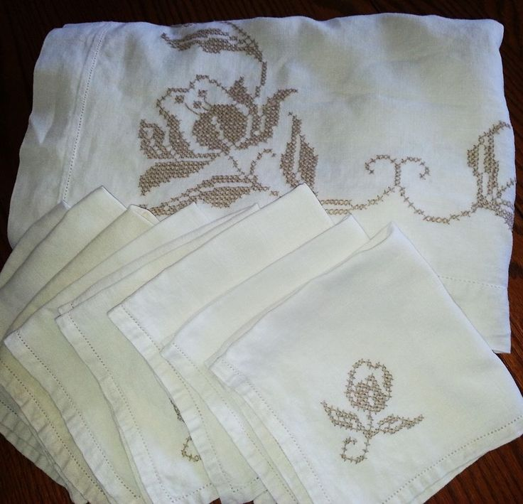 "Tablecloth Embroidered Cotton Flowers Linen Antebellum 77"" & 8 Napkins"