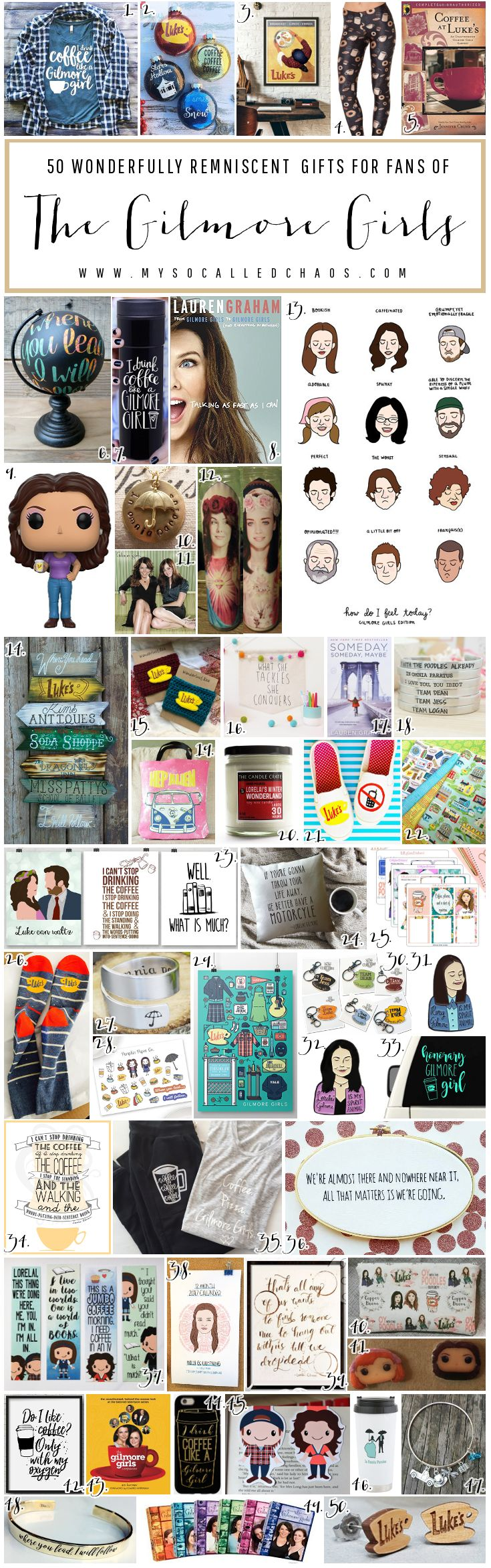 50 Gifts for Gilmore Girls Fans - Christmas Gift Ideas http://mysocalledchaos.com/2016/11/50-gifts-for-gilmore-girls-fans.html