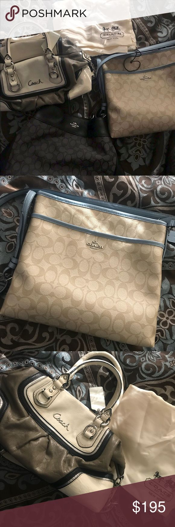 Coach purses and wallet!!!!!! Tan/cream colored purse for $30  Tan and blue purse for $60   Black coach purse for $80   Wallet for $25 Coach Bags Crossbody Bags