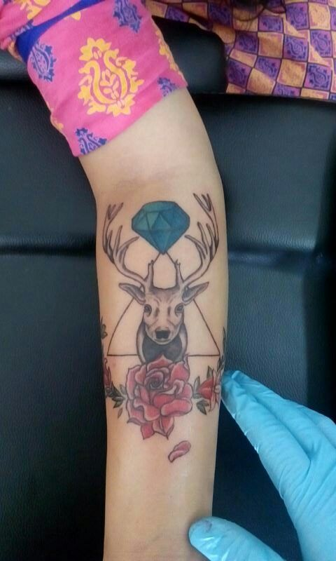 Tattoo #stag #forearm #hipster #girl #chieftain #cult.
