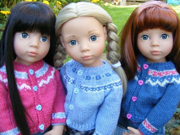 """Fairisle cardigan, free pattern for 18"""" Gotz dolls - Tuto gratuit pour gilet à motif jaquard, poupée Gotz 45cm"""