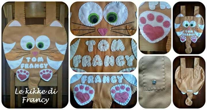 Porta pigiama gatto tigrato, in pannolenci 🐈