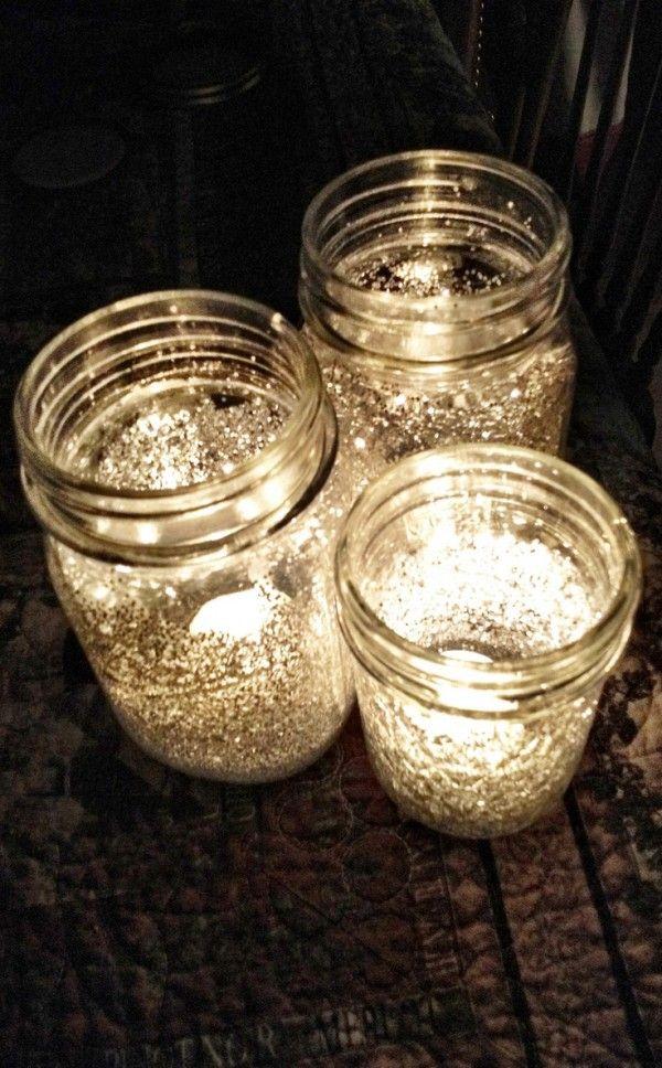 Transform Mason jars with glue and glitter!