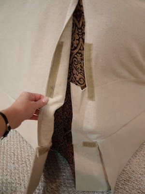 make a slipcover out of drop cloth canvas for a cheap makeover: