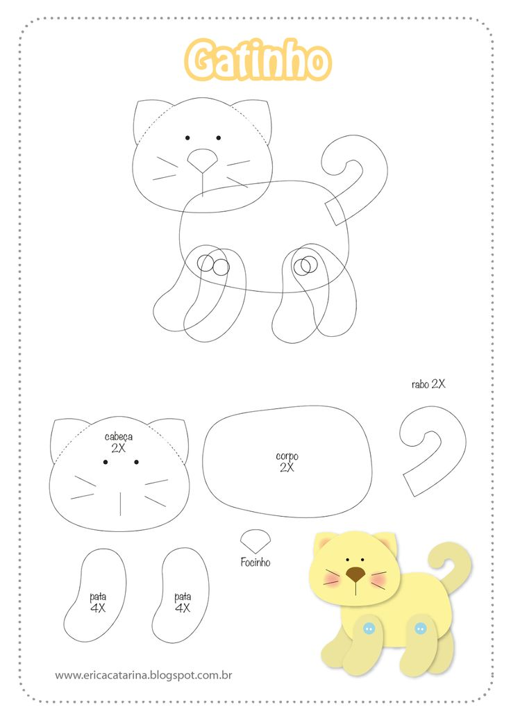 CAT APER PIECING (OR FELT) TEMPLATE DIAGRAM