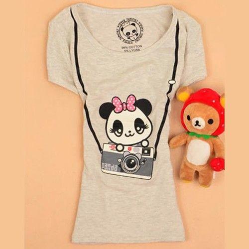 Cute Panda Polka Dot Bowtie Camera Women's Clothing Cartoon #T Shirt #Tops #Tee