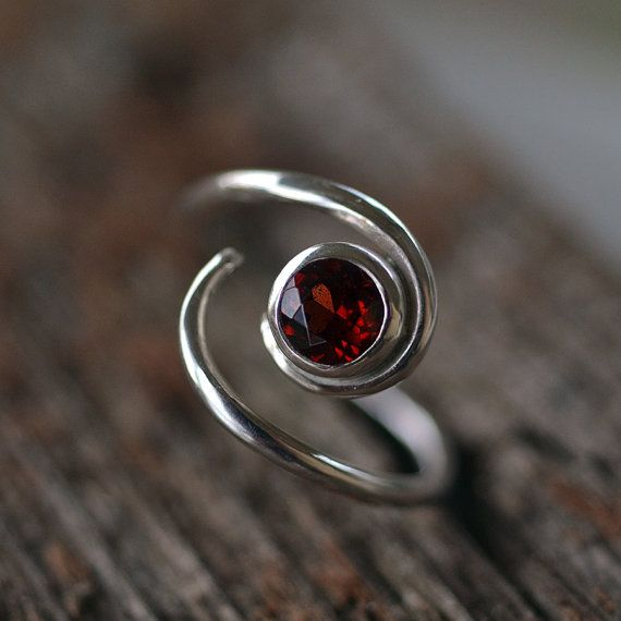 Garnet Solitaire Ring - Gemstone Ring - Recycled Sterling Silver - Black Cherry Red Garnet - Engagement Ring - January Birthstone Ring