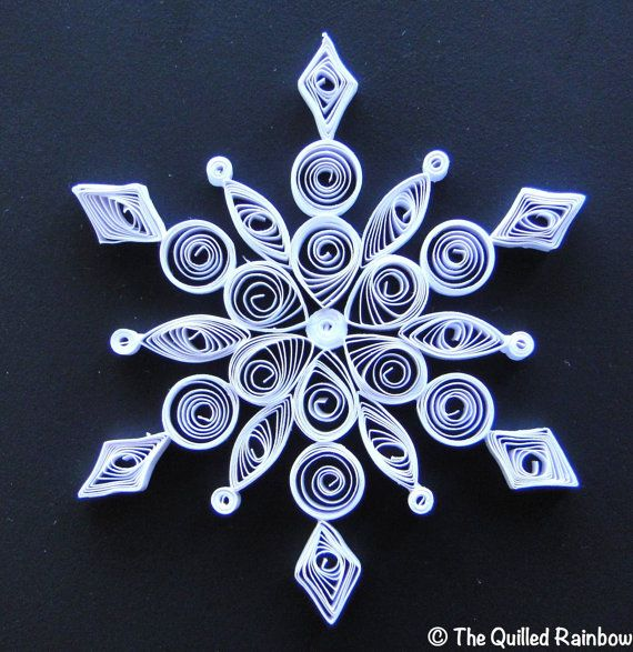 Quilled copo de nieve adornos de Navidad hechos a mano papel