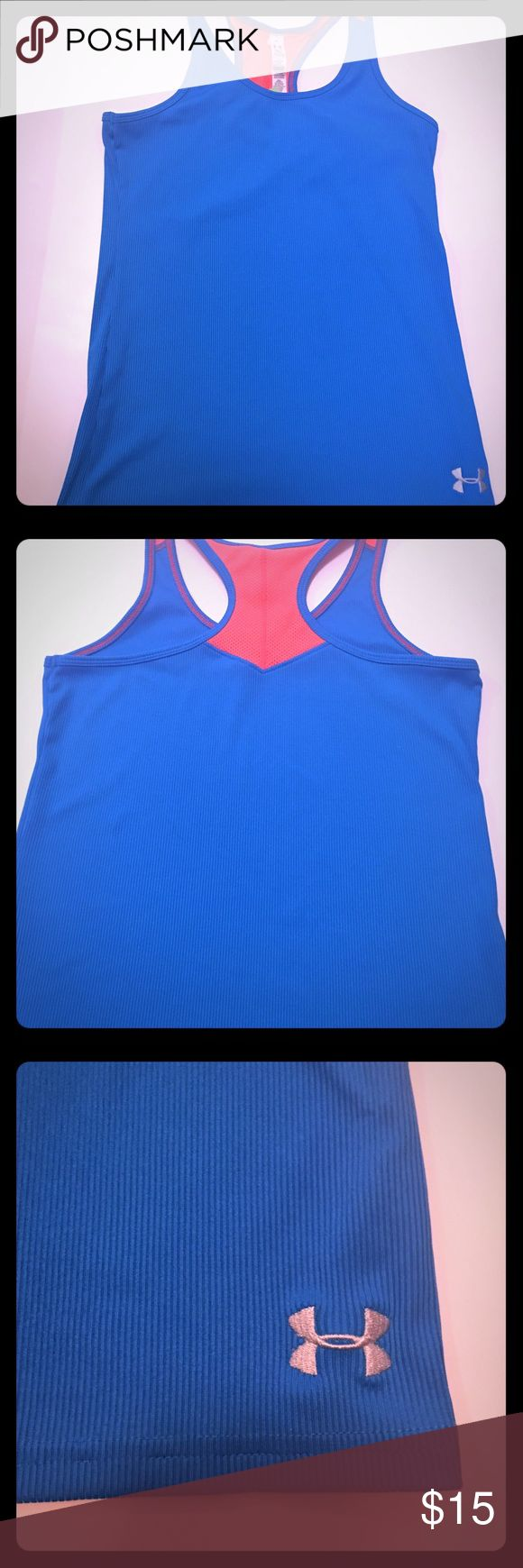 TANK TOP Athletic tank top under Armour in turquoise and orange, it has a razorback . Under Armour Shirts & Tops Tank Tops