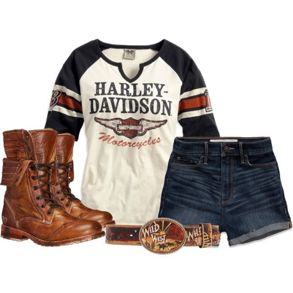Harley Davidson Bling | fashion look from May 2015 featuring hot pants, bed stu boots and ...