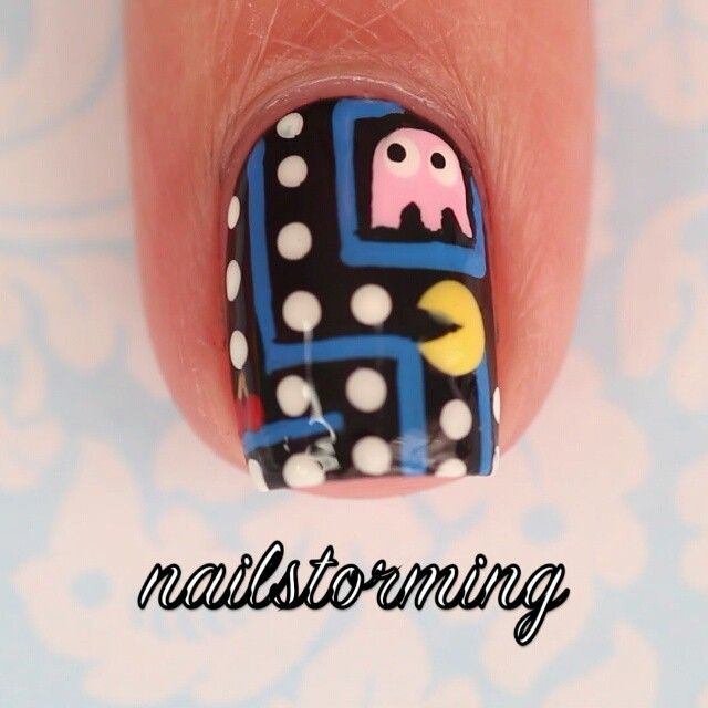 """Pac-Man  - - Products used: Base: """"Black Onyx"""" OPI  Details : acrylic paint Brushes and dotter: from @whatsupnails  Top coat: Matte About You Essie - Song: """"Pac-Man Original Theme"""""""