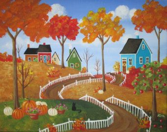 First Day of Autumn Folk Art Print by KimsCottageArt on Etsy