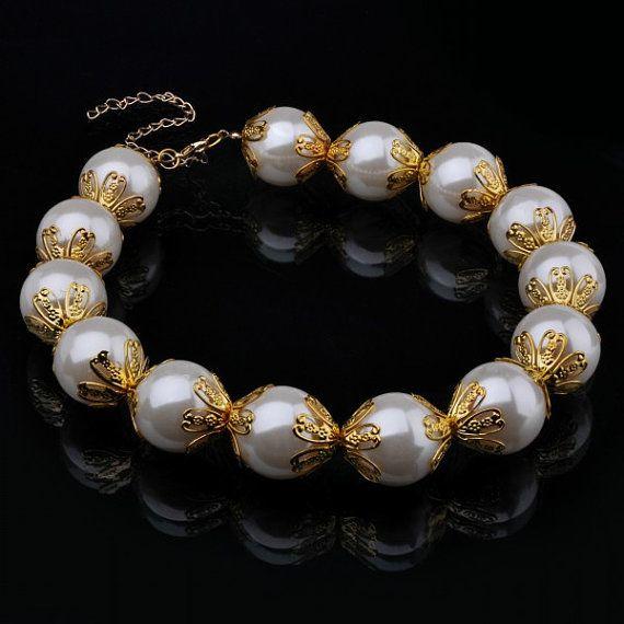 FJ Fashion Gold Chain White Faux Big Pearl by Glamorosajewelry