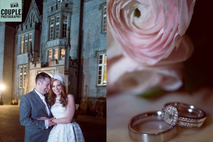 Epic photo of the Newlyweds in front of the castle at night. Photographed by a long exposure allowing the light to glow from the castle. A detail of the wedding rings with the brides bouquet. Weddings at Kinnitty Castle photographed by Couple Photography.