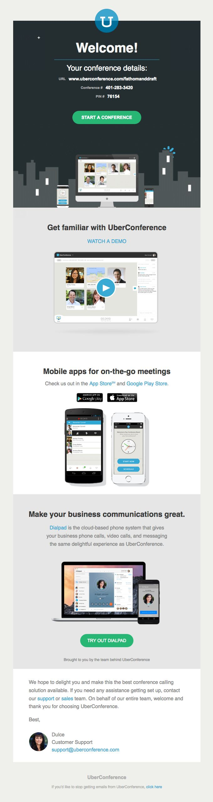 best images about welcome emails email uberconference sent this email the subject line welcome to uberconference about this email and more onboarding emails at