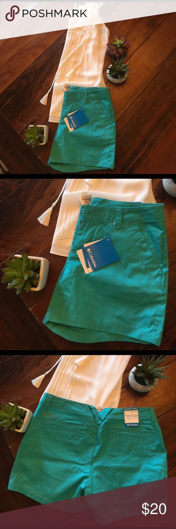 """NWT Columbia teal shorts NWT super cute Columbia teal-colored shorts. Size 4. 4"""" inseam. Columbia Shorts"""