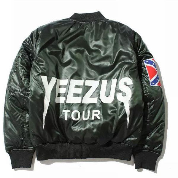 New Yeezus Tour Bomber MA1 Flight Jacket Padded Kanye west Black... ❤ liked on Polyvore featuring outerwear, jackets, bomber jacket, green jacket, flight jacket, green bomber jacket and military jacket
