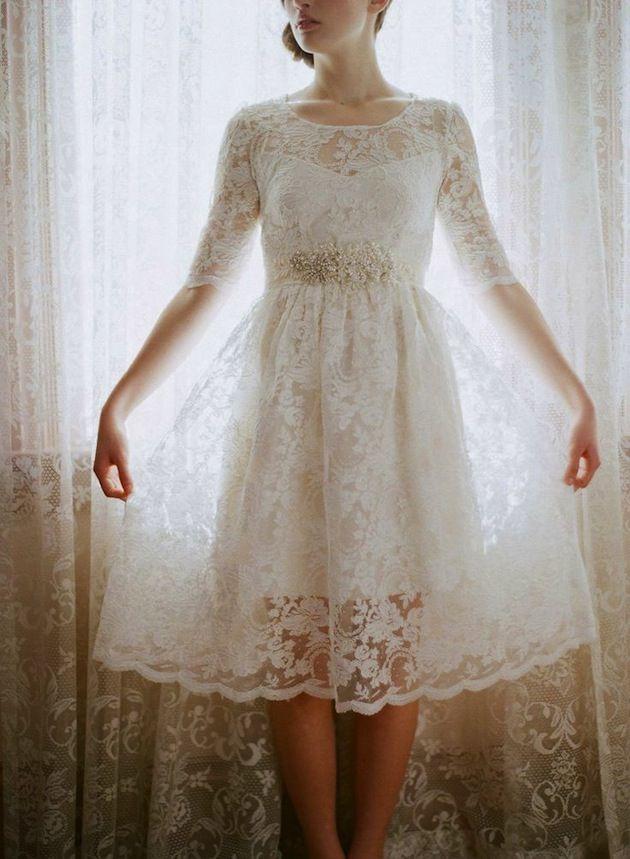 Leanne Marshall Short Lace Wedding Dress