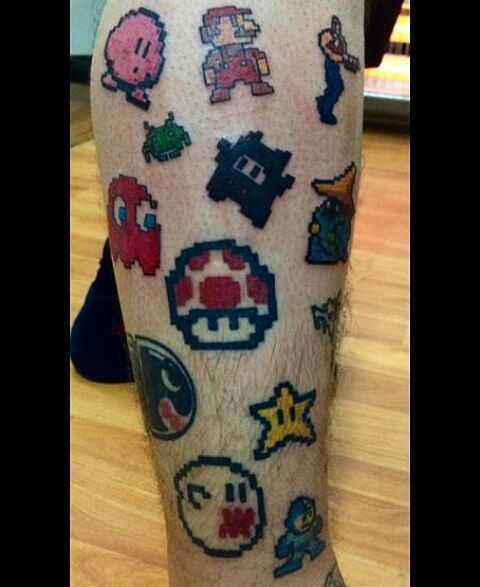 Shared by dizbla #nes #microhobbit (o) http://ift.tt/1n1pXhT retro friends :D #tattoo  #capcom #pacman #ink #chile #mariobros #japan #nerd