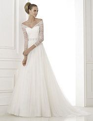 Pronovias > Pronovias presents the wedding dress Berila. Fashion 2015.  Love the unusual sleeves with pearls accents.