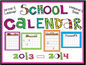 Super Adorable Printable School Calendar 2013-2014  EDITABLE  GET IT NOW.  EXTRA LICENSES MORE THAN 50% OFF...SO, GET ONE FOR A FRIEND, TOO = )