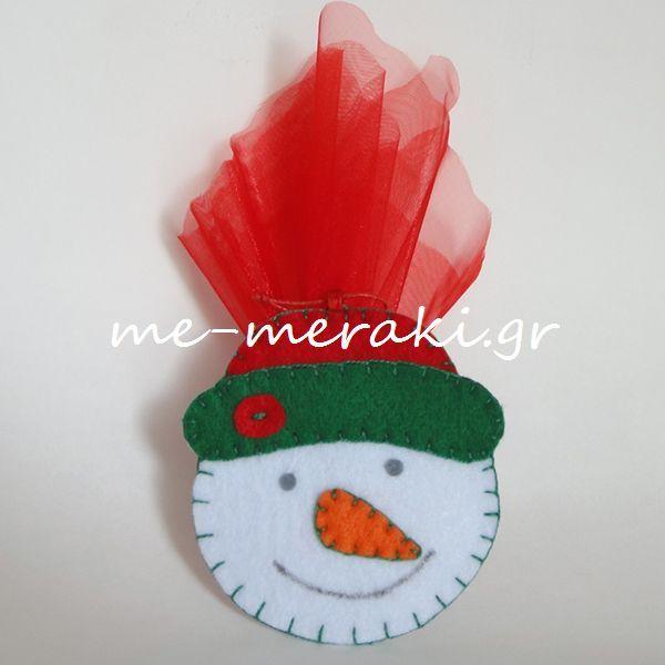 Handmade mpomponiera Me Meraki Mpomponieres Χειροποίητη μπομπονιέρα βάπτισης, τσόχα στολίδια κρεμαστά για το χριστουγεννιάτικo δέντρο. Με Μεράκι Μπομπονιέρες Μπομπονιέρα Βάπτισης μπομπονιέρες βάπτισης www.me-meraki.gr  ΥΦ071-Β