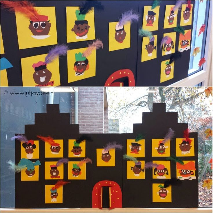 Benodigdheden:  - zwart karton (voor het maken van de huizen)  - geel karton, 12 x 12cm  - restpapier  - schaar  - lijm  - extra optie: ...