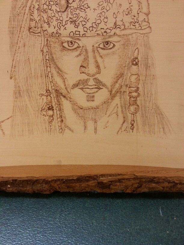 Wood burning of Captain Jack Sparrow!  :D