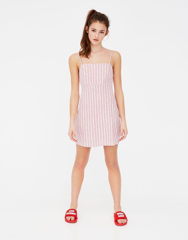 mejor selección d1946 b60c6 Pull&Bear - vestido mini a rayas - hielo - 05391338-V2018 ...