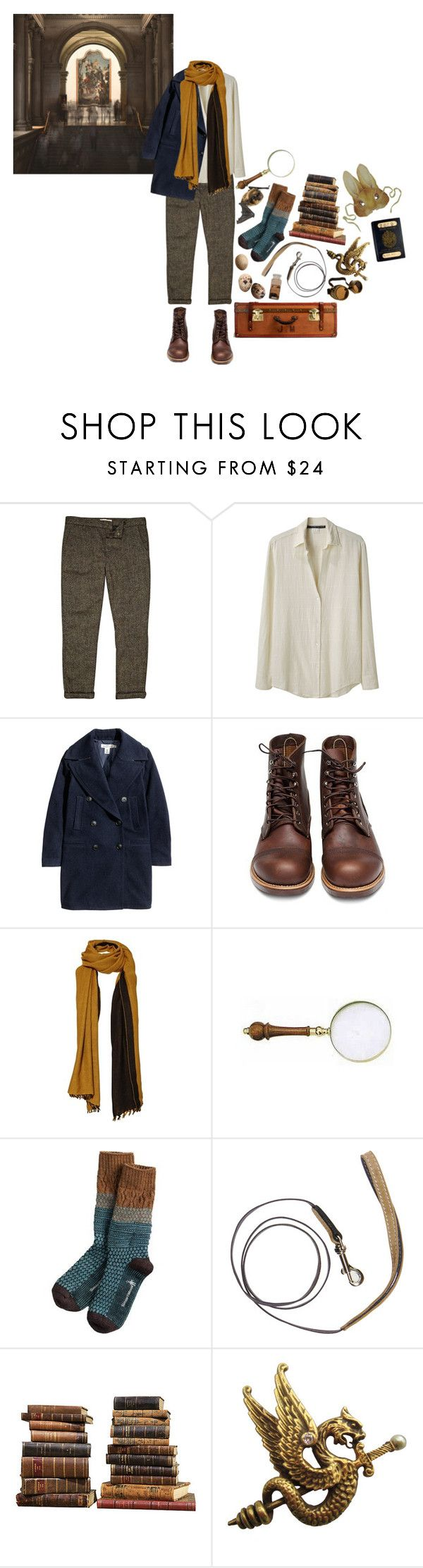 """newt scamander"" by macamacarron ❤ liked on Polyvore featuring River Island, Les Prairies de Paris, H&M, Red Wing, Comptoir Des Cotonniers, Mungo & Maud, Sarreid, S.W.O.R.D., men's fashion and menswear"