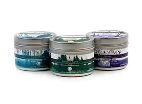Soy Candles in a Tin -- Sweet Dreams- Scented with essential oils of Lavender, Lemongrass, and Marjoram. * Northern Forest- Scented with essential oils of Spruce, Cedarwood, and Fir Needle. * Citrus Harmony- Scented with essential oils of Orange, Grapefruit and Clove.