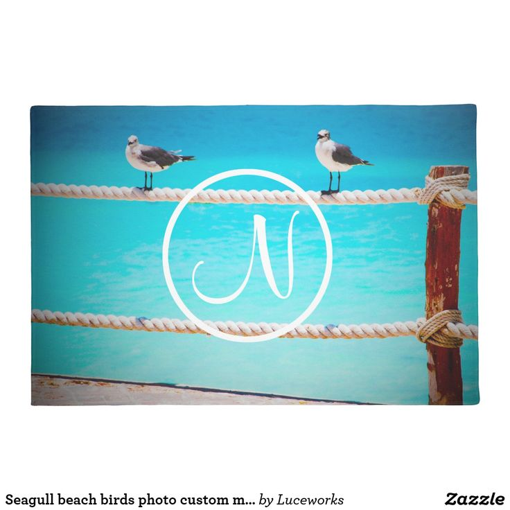 Seagull beach birds photo custom monogram doormat