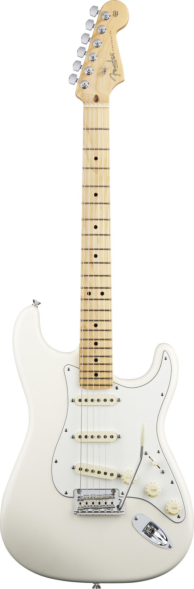 The American Standard Stratocaster® guitar is the same great best-selling, go-to model it has always been, and now it's upgraded with aged plastic parts and full-sounding Fender Custom Shop Fat '50s p