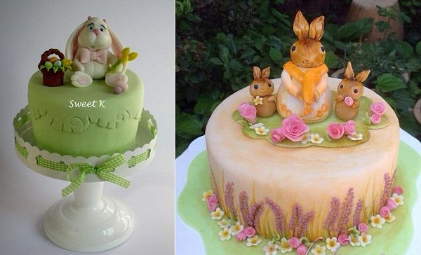 easter bunny cakes by Sweet K Cake Designs left, MND Cakes right