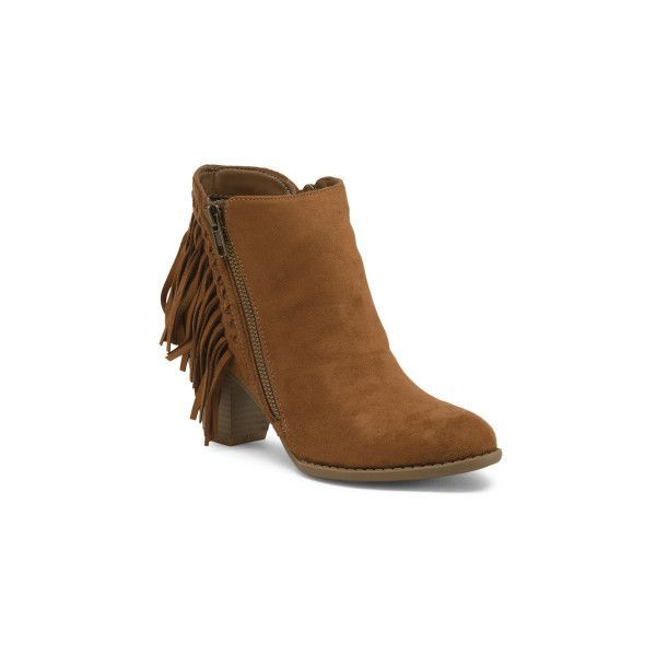 Fringe Side Zip Booties ($30) ❤ liked on Polyvore featuring shoes, boots, ankle booties, tassel booties, fringe boots, fringe ankle booties, zip boo