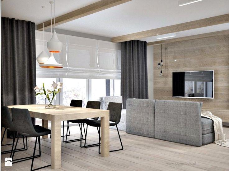 Poddasze w Głoskowie - Średni salon z jadalnią, styl nowoczesny - zdjęcie od Icona Studio