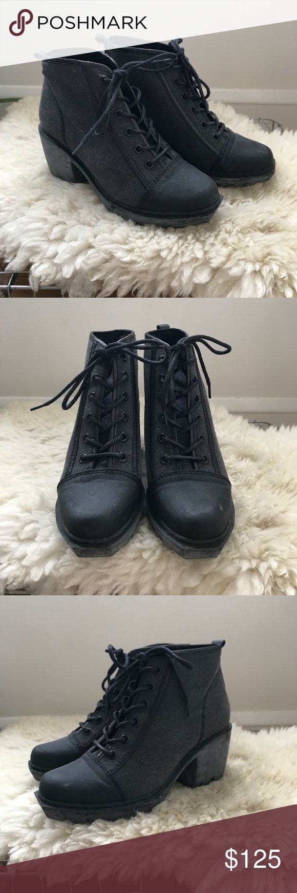 """Opening Ceremony Grunge Lace Up Sneaker Only worn a few times. One flaw in toe area, see images. Canvas/leather/rubber upper. Distressed rubber sole. Heel 2.5"""" platform .75"""" Opening Ceremony Shoes Ankle Boots & Booties"""