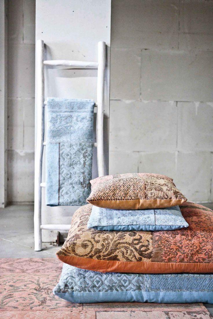 Carpet Patchwork - orange | Pillow Patchwork - orange & turquoise