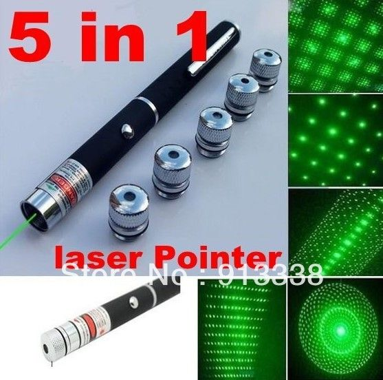 Free Shipping  Hight Quality 5 in 1 5mW Green Laser Pointer 532nm DJ Party Lazer Light firefly firework pen beam   Gift Box