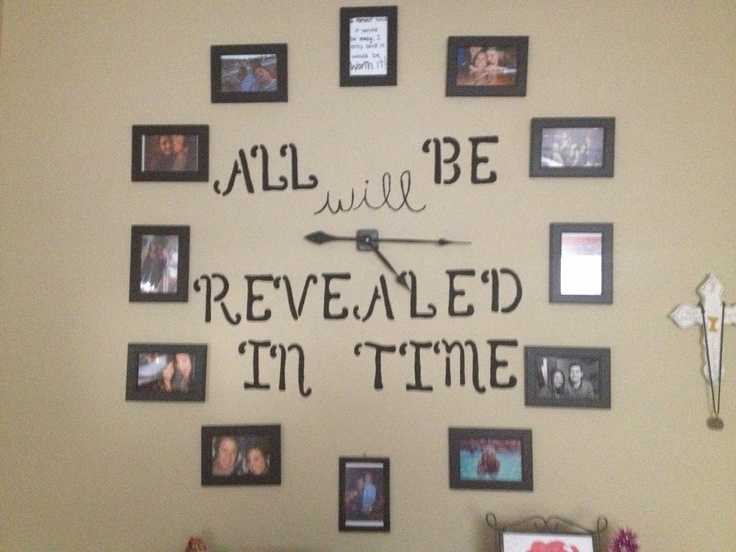I made this clock wall in my bedroom! All black frames from the dollar store and clock hands from hobby lobby :) the quote in the middle is from a tattoo my brother has !